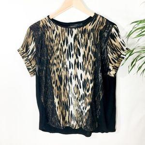 Zara Leopard with Lace trim Blouse Size L